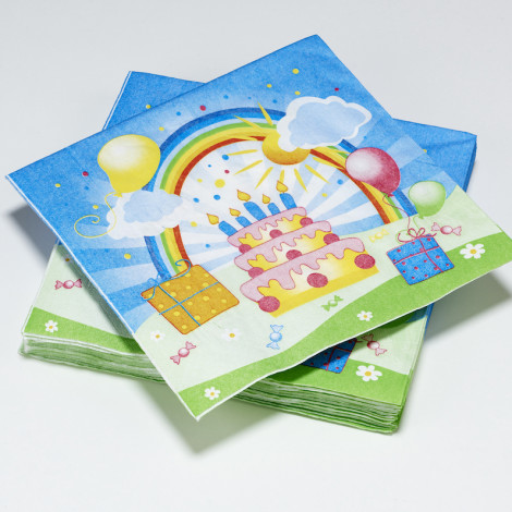 Serviettes en papier Happy Party anniversaire enfant arc-en-ciel