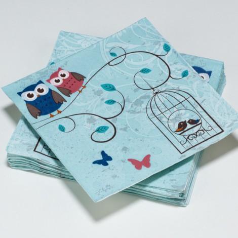Serviettes en papier hiboux, oiseaux et papillons