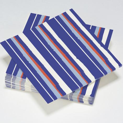 Serviettes rayés thème bleu océan