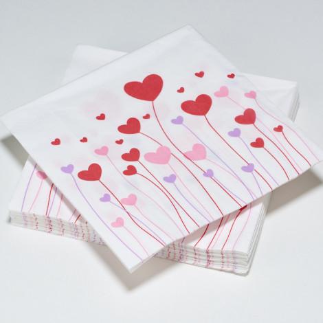 Serviettes en papier LOVE foret de coeurs roses, rouges et violets