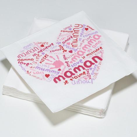 Serviettes en papier LOVE fête des mères maman