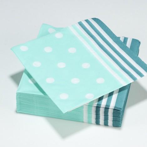 Serviettes en papier Mixy, points et rayures, bleu