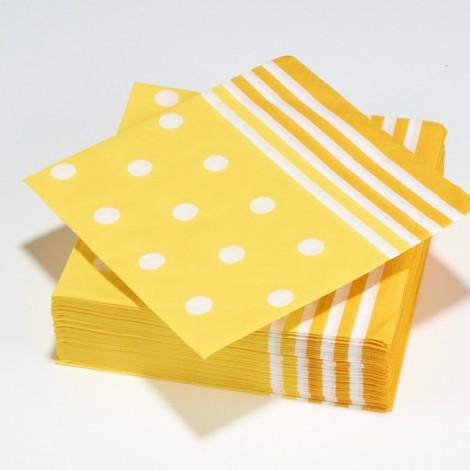 Serviettes en papier Mixy, points et rayures, jaune canari