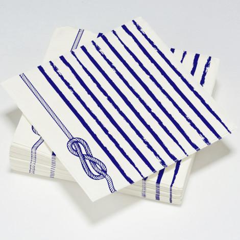 Serviettes en papier nœud de marin thème bleu océan