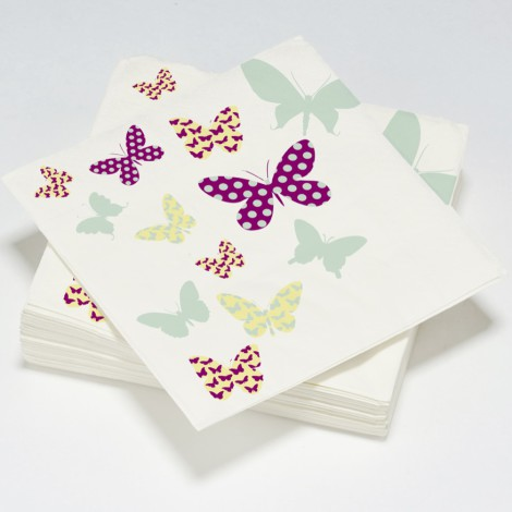 Serviettes en papier motifs papillons