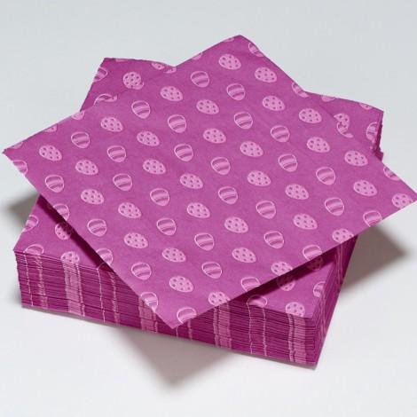 Serviettes en papier motifs oeufs de pâques violets