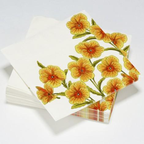 Serviettes en papier, fleurs pensées orange