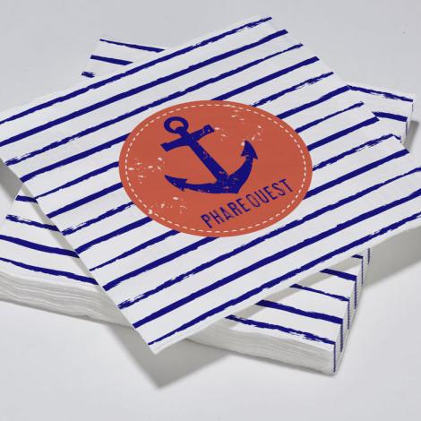 """Serviettes en papier motif ancre de marin """"Phare Ouest"""" thème bleu océan"""