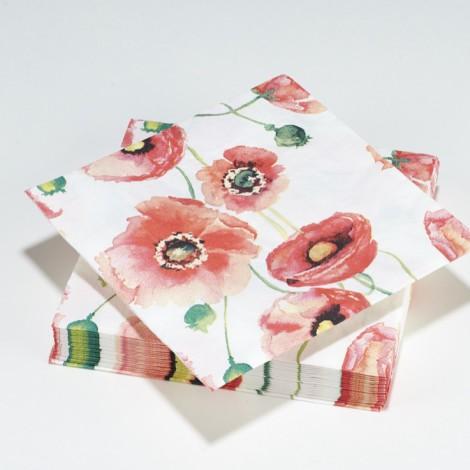 Serviettes en papier Poppy fleurs aquarelle