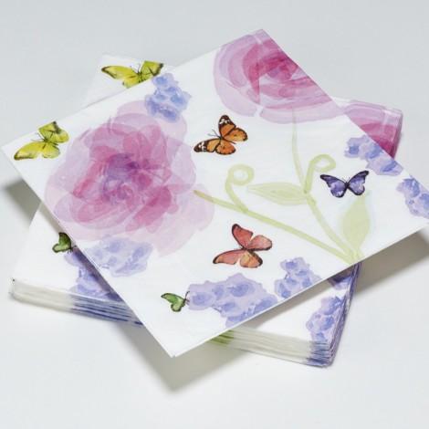 Serviettes en papier Primavera, papillons, aquarelle