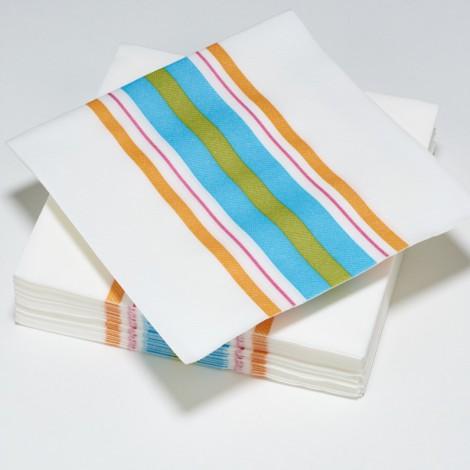 Serviettes en papier rayures multicolor