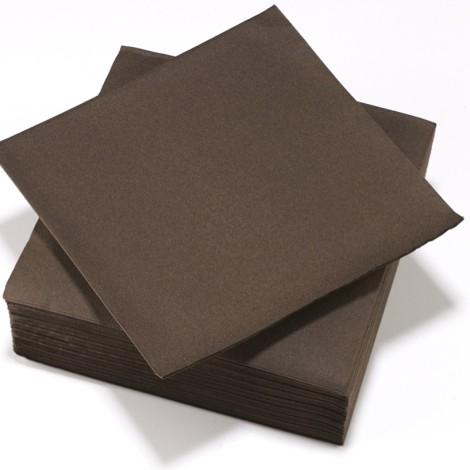 Serviettes épaisses marron chocolat, qualité réception.
