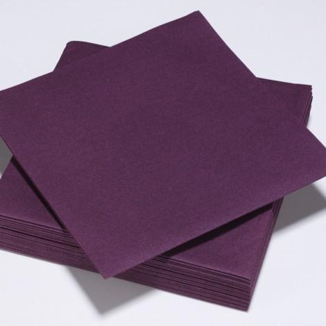 Serviettes épaisses de couleur prune, qualité réception.