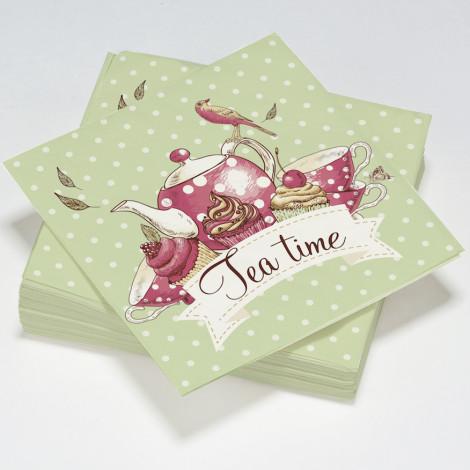 """Serviettes en papier vert à pois blanc motif théière """"Tea time"""""""