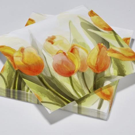 Serviettes en papier tulipes jaune aquarelle