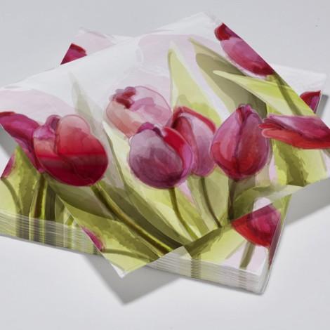 Serviettes en papier tulipes roses aquarelle