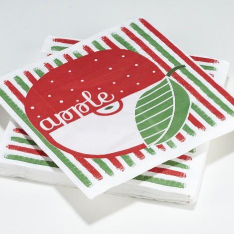 Serviettes en papier tuttifrutti Apple Pomme rouges et vertes