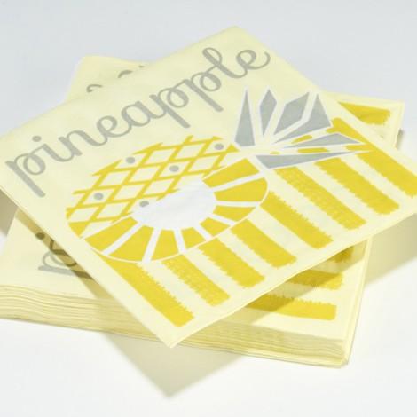 Serviettes en papier tuttifrutti jaune ananas pineapple