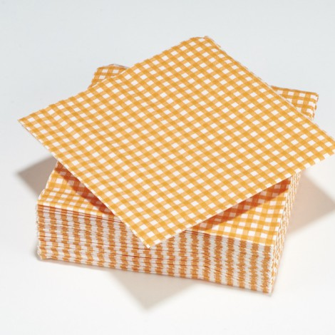 Serviettes vichy carreaux orange mandarine