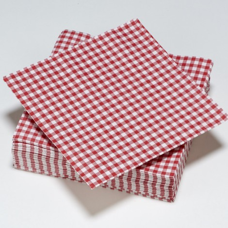 Serviettes vichy carreaux vertes rouge