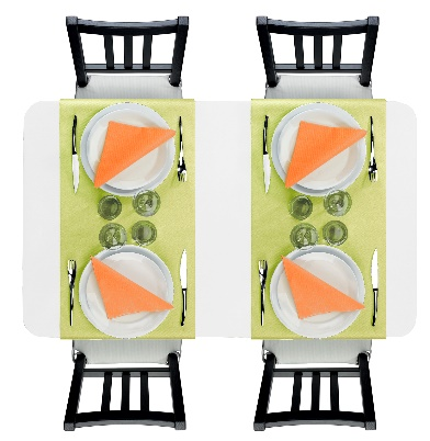 Contraste raffiné de décoration de table avec des chemin de table vert anis et des serviettes ornage mandarine