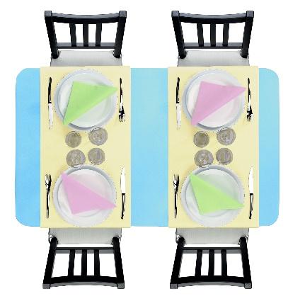 une décoration de table coloré aux couleurs pastel
