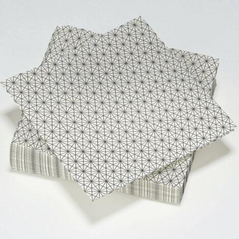 serviettes en papier décorées de traits géométriques